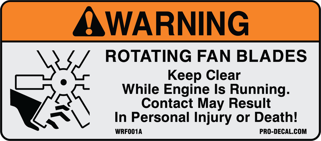 Fan Blade Inuries : Pro decal warning decals rotating fan blades