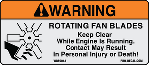Warning rotating fan blades safety and warning decal