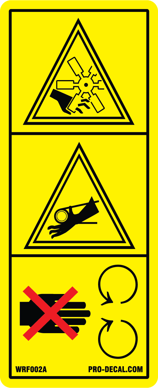 Warning rotating fan pictogram safety and warning decal