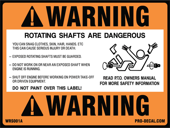 Warning rotating shafts safety and warning decal