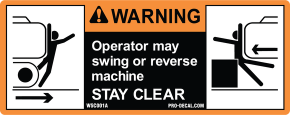 Warning operator stay clear safety and warning decal