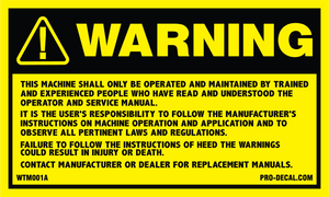 Warning this machine safety and warning decal