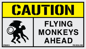 Caution flying monkeys ahead humorous decal