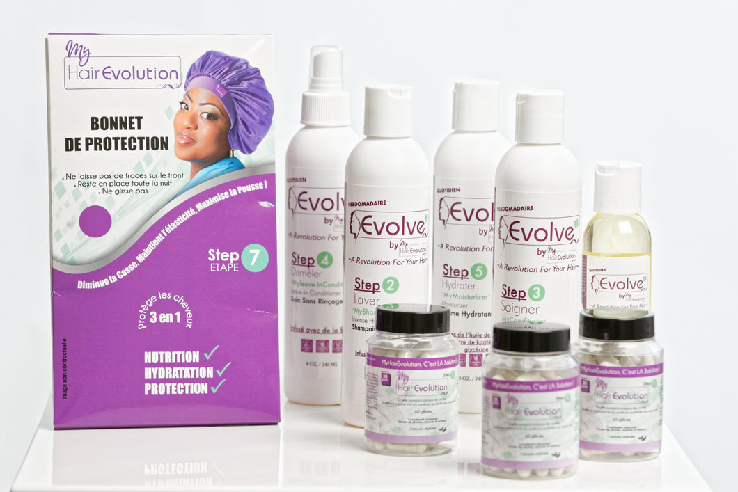 Gamme Evolve Adulte + 3 Vitamines Adulte + Bonnet Satin - MyHairEvolution