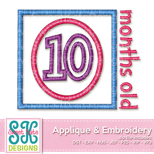 Ten Months Old Applique - Sweet Kate Designs