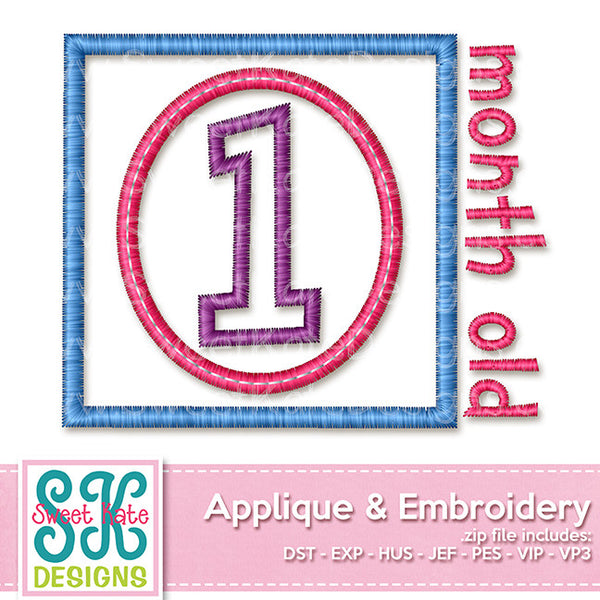 One Month Old Applique - Sweet Kate Designs