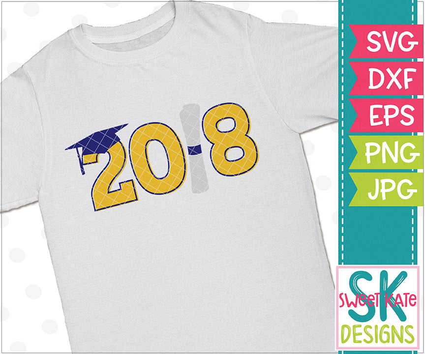 2018 with Diploma and Cap SVG DXF EPS PNG JPG - Sweet Kate Designs