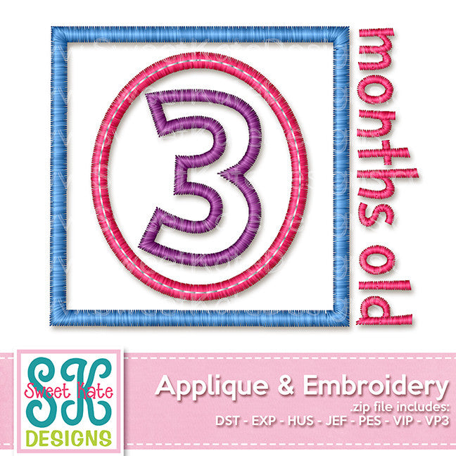 Three Months Old Applique - Sweet Kate Designs