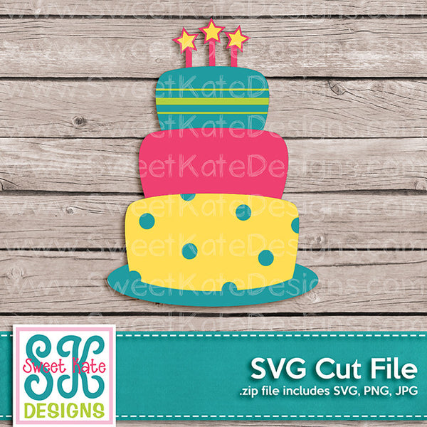 3 Tier Birthday Cake SVG - Sweet Kate Designs