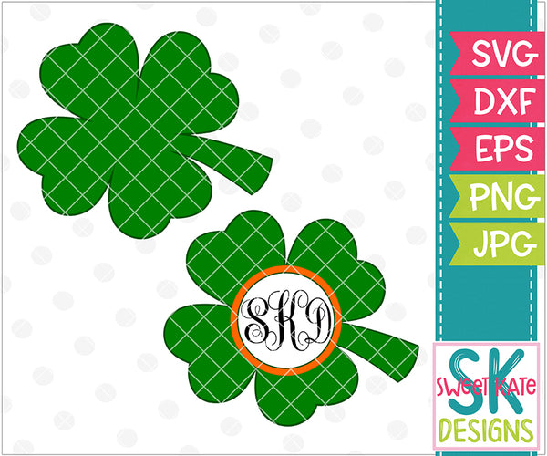 4 Leaf Clover with Monogram Option SVG DXF EPS PNG JPG - Sweet Kate Designs