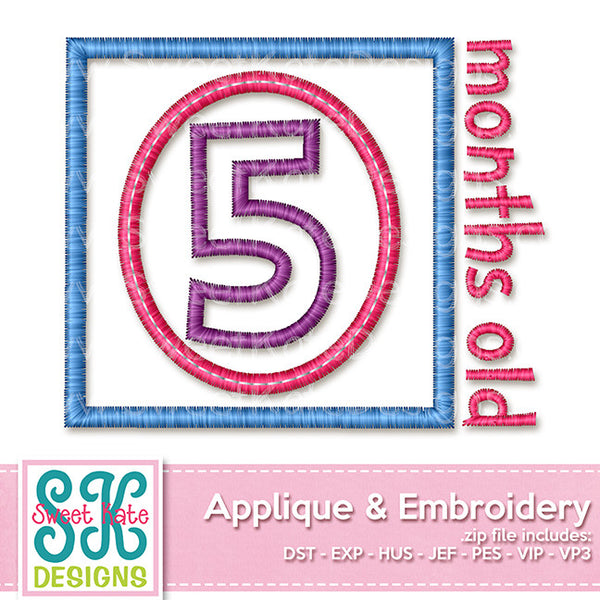 Five Months Old Applique - Sweet Kate Designs