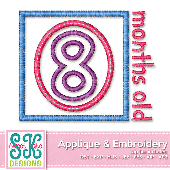 Eight Months Old Applique - Sweet Kate Designs