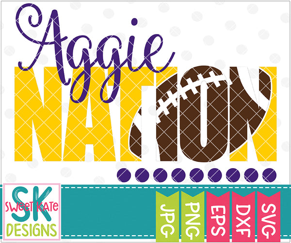 Aggie Nation with Knockout Football SVG DXF EPS PNG JPG - Sweet Kate Designs