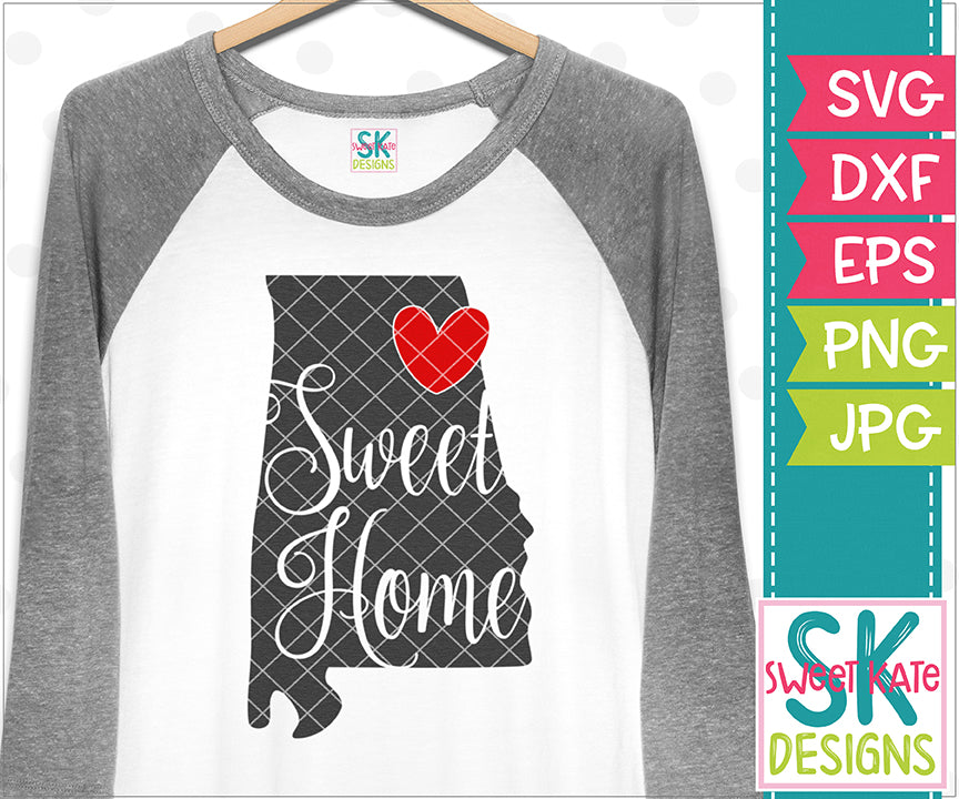 Alabama Sweet Home SVG DXF EPS PNG JPG - Sweet Kate Designs