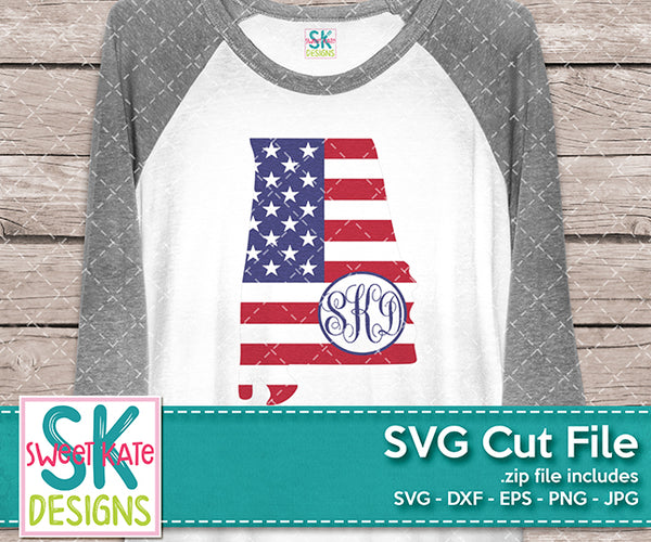 Alabama USA Flag with Monogram Option SVG DXF EPS PNG JPG