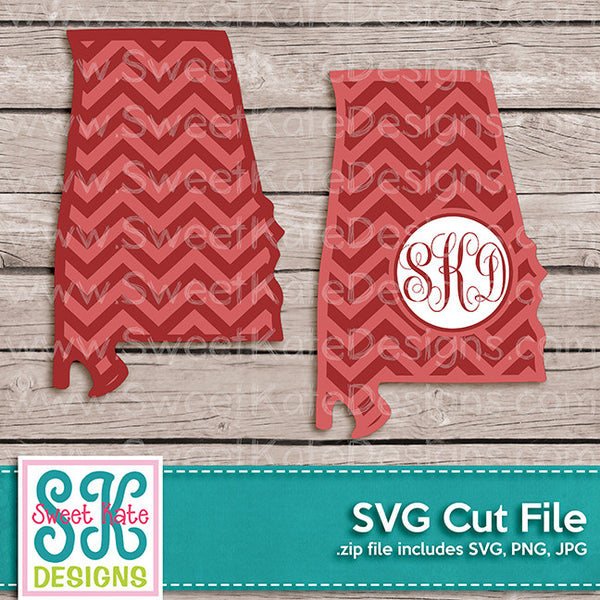 Alabama with Monogram Option Chevron SVG - Sweet Kate Designs