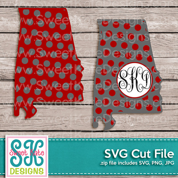 Alabama with Monogram Option Polka Dot SVG - Sweet Kate Designs