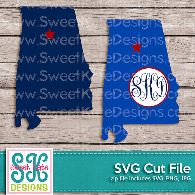 Alabama with Monogram Option SVG - Sweet Kate Designs