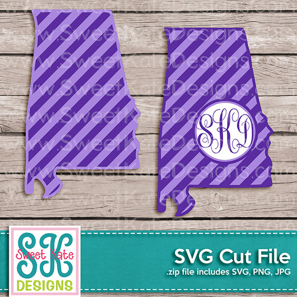 Alabama with Monogram Option Stripe SVG - Sweet Kate Designs