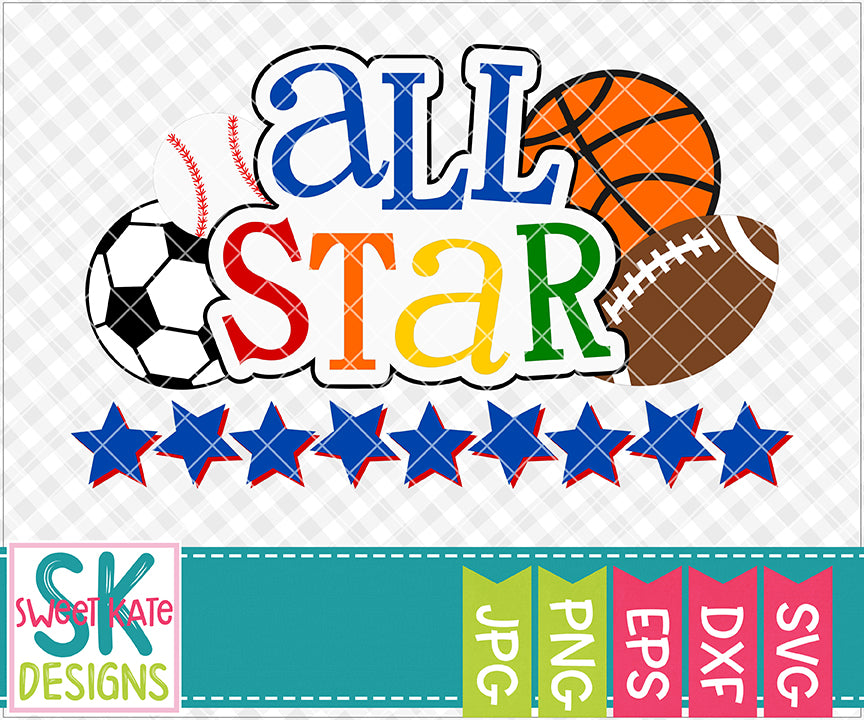 All Star SVG DXF EPS PNG JPG - Sweet Kate Designs