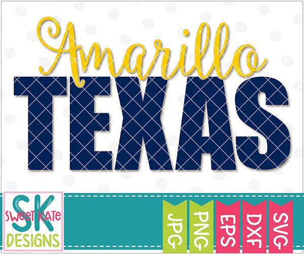 Texas - Amarillo with Knockout Texas SVG DXF EPS PNG JPG - Sweet Kate Designs