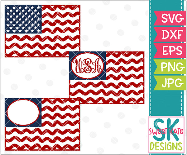 American Flags with Monogram Option SVG DXF EPS PNG JPG - Sweet Kate Designs