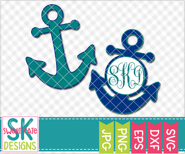 Anchor with Monogram Option SVG DXF EPS PNG JPG - Sweet Kate Designs