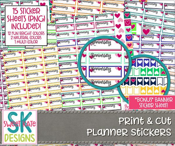 Print & Cut Planner Stickers: Anniversary Hearts - Sweet Kate Designs