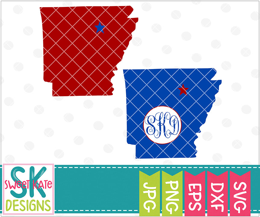 Arkansas with Monogram Option SVG DXF EPS PNG JPG - Sweet Kate Designs