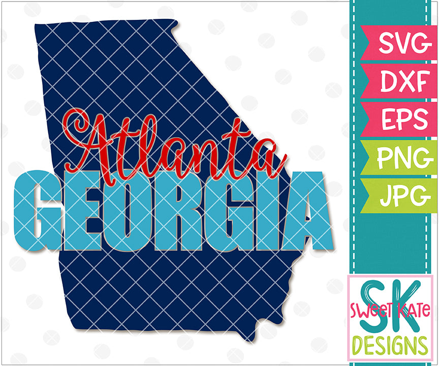 Georgia - Atlanta with Knockout Georgia SVG DXF EPS PNG JPG - Sweet Kate Designs