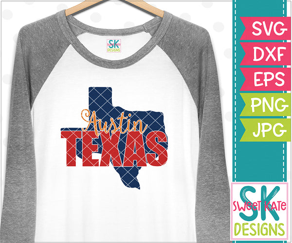 Texas - Austin with Knockout Texas SVG DXF EPS PNG JPG - Sweet Kate Designs