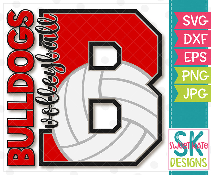 B Bulldogs Volleyball SVG DXF EPS PNG JPG - Sweet Kate Designs