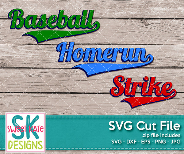 Baseball Homerun Strike SVG DXF EPS PNG JPG - Sweet Kate Designs