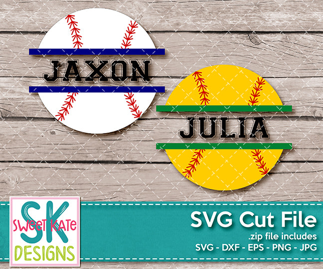 Baseball or Softball Split SVG DXF EPS PNG JPG - Sweet Kate Designs