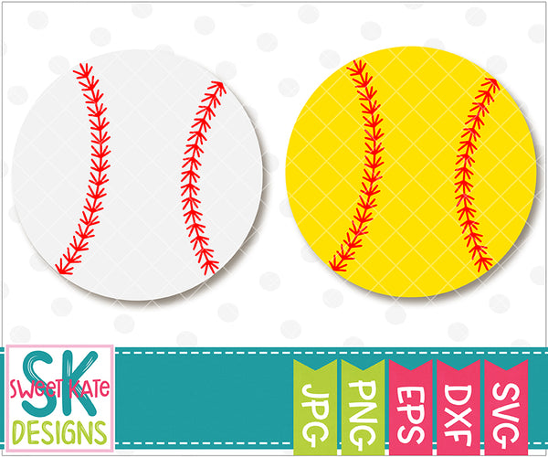Baseball or Softball SVG DXF EPS PNG JPG - Sweet Kate Designs