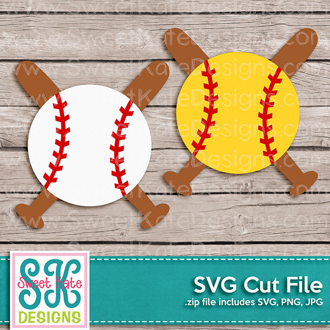 Baseball or Softball with Crossed Bats SVG - Sweet Kate Designs