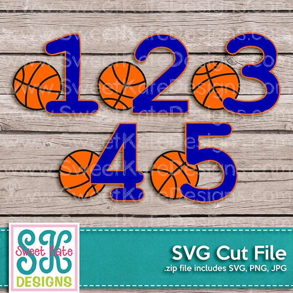Basketball with Numbers 1-5 SVG - Sweet Kate Designs