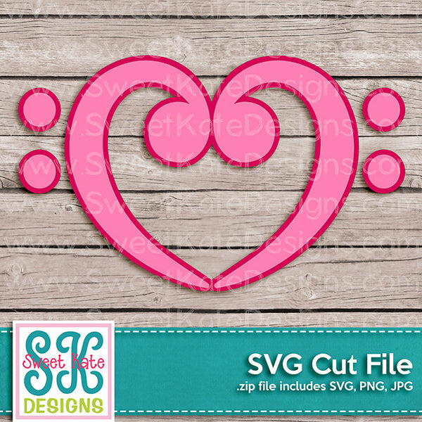 Bass Clef Heart SVG - Sweet Kate Designs