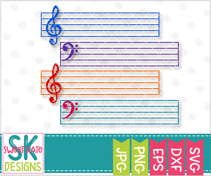 Bass Clef and Treble Clef with Bar Lines SVG DXF EPS PNG JPG - Sweet Kate Designs