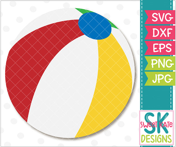 Beach Ball SVG DXF EPS PNG JPG - Sweet Kate Designs
