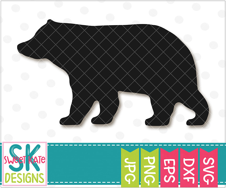 Bear Silhouette SVG DXF EPS PNG JPG - Sweet Kate Designs