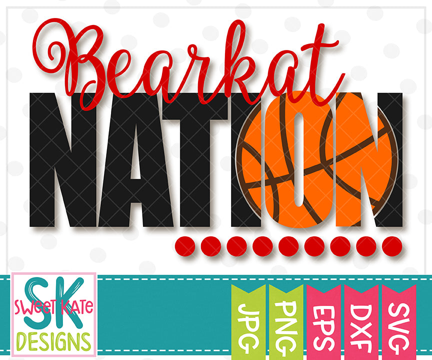 Bearkat Nation with Knockout Basketball SVG DXF EPS PNG JPG - Sweet Kate Designs