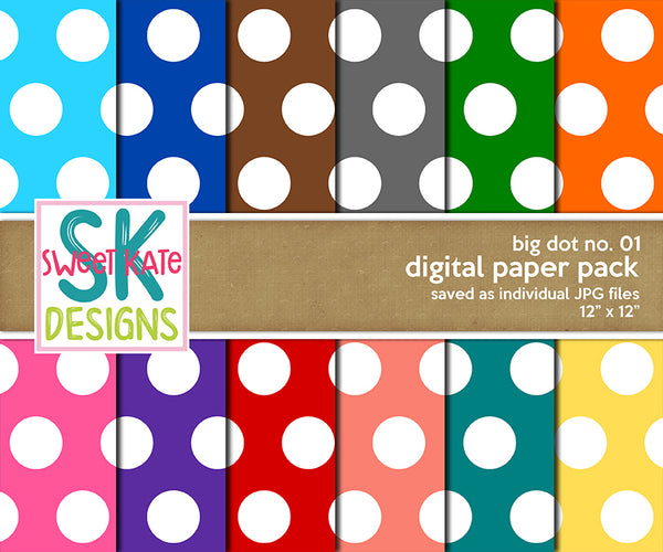Big Dot No. 01 - Digital Paper Pack - Sweet Kate Designs