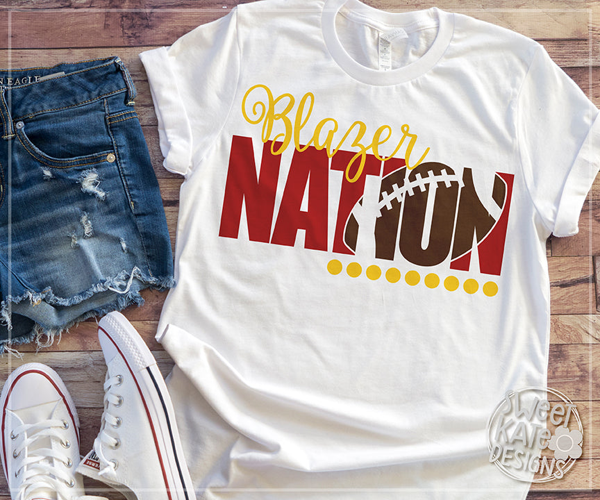Blazer Nation with Knockout Football SVG DXF EPS PNG JPG - Sweet Kate Designs