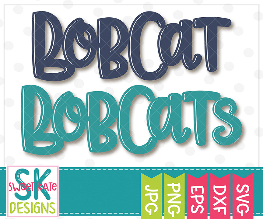Bobcat/Bobcats SVG DXF EPS PNG JPG - Sweet Kate Designs
