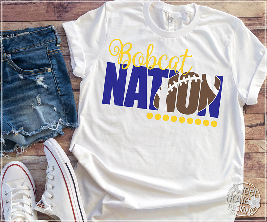 Bobcat Nation with Knockout Football SVG DXF EPS PNG JPG - Sweet Kate Designs