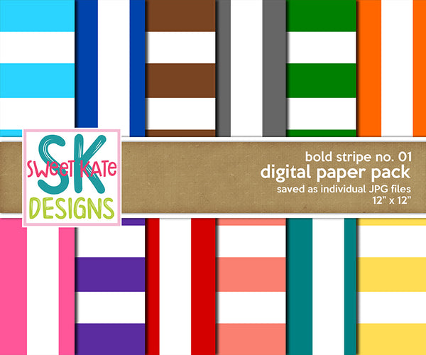 Bold Stripe No. 01 - Digital Paper Pack - Sweet Kate Designs