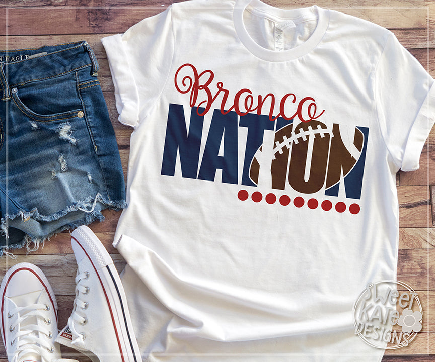 Bronco Nation with Knockout Football SVG DXF EPS PNG JPG - Sweet Kate Designs
