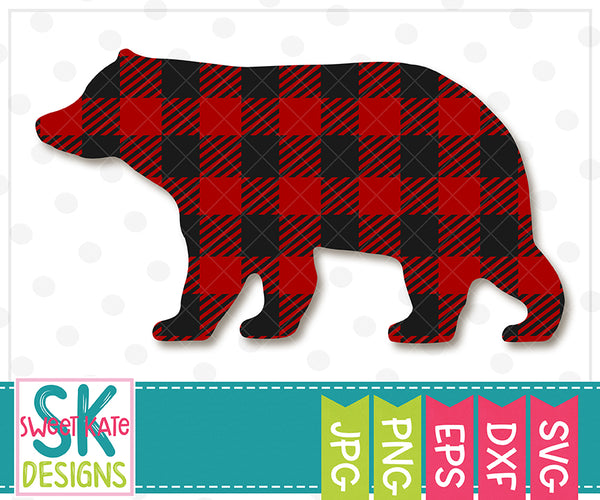 Buffalo Plaid Bear SVG DXF EPS PNG JPG - Sweet Kate Designs