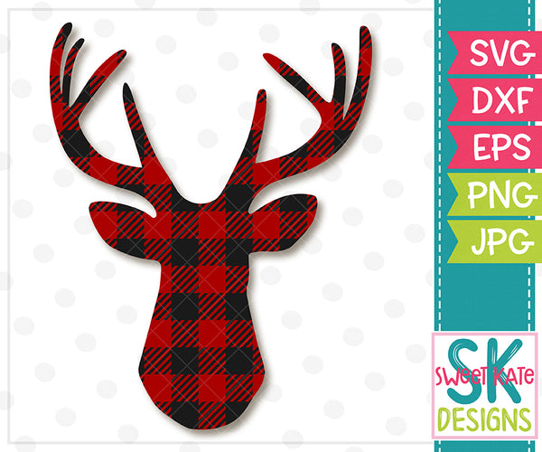 Buffalo Plaid Deer Head SVG DXF EPS PNG JPG - Sweet Kate Designs